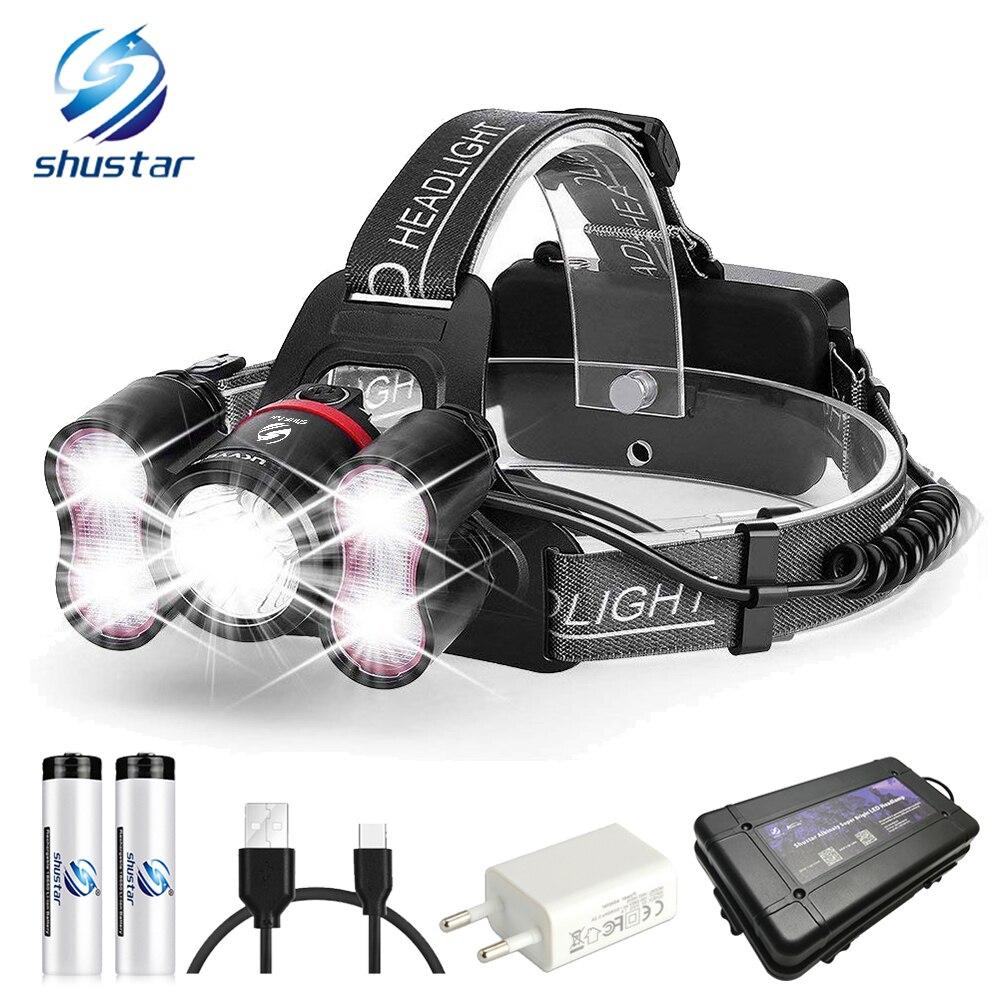 5 LEDS super helle LED scheinwerfer 10000 lumen led headlighr 4 schalter modi angeln lampe Wasserdichte scheinwerfer + 2x18650 batterien