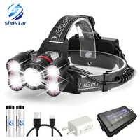 Faro LED superbrillante 1 x T6 + 40 x 2835LED 4 modos de iluminación con detección de luz inteligente para camping, pesca