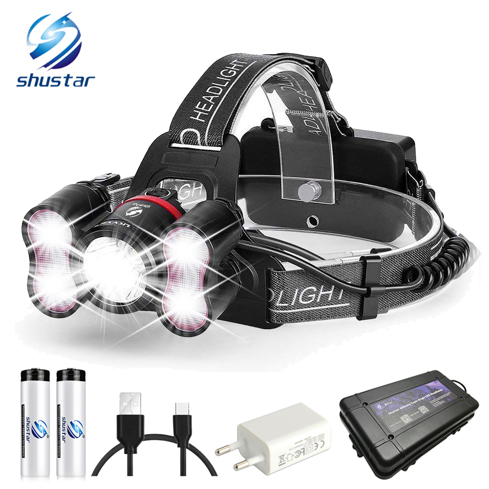 Super bright LED Headlamp 1 x T6 40 x 2835LED Headlight 4 lighting modes With intelligent light sensing For camping fishing