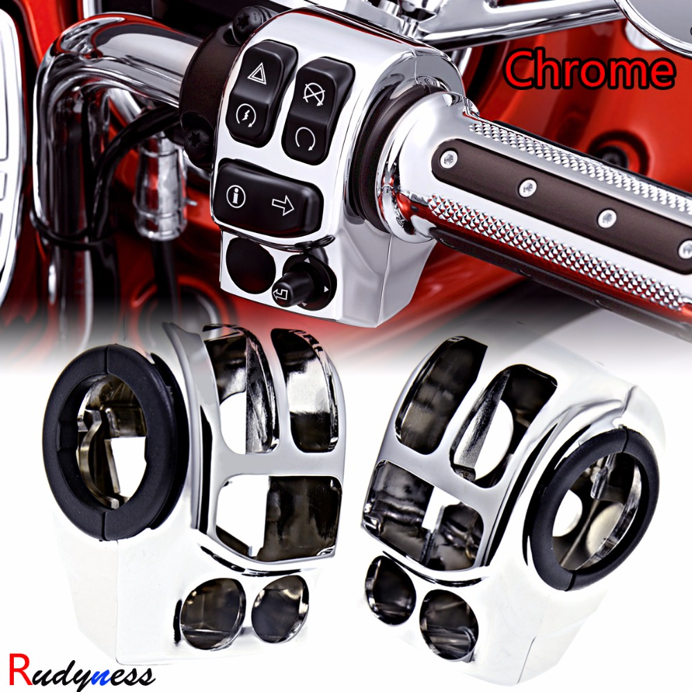 L&R Chrome Handlebar Control Switch Housings For Harley Touring Electra Street Glide Road King 2014 2015 2016 2017 2018 rsd motorcycle 5 hole beveled derby cover aluminum for harley touring flh t 2016 2017 for flhtcul and flhtkl 2015 2016 2017