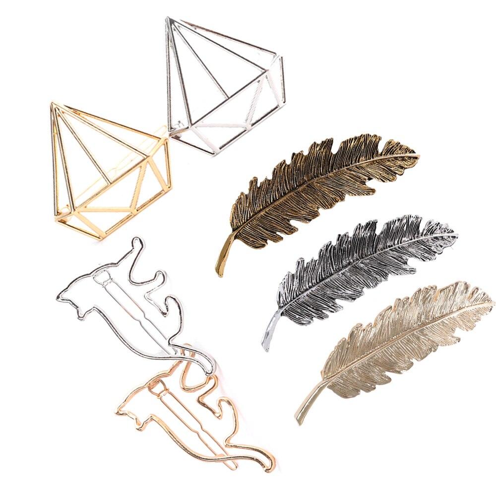 1 Pc Frauen Gold/silber Blatt/katze/diamant Feder Haar Clip Haarnadel Haarspange Bobby Pin Haar Styling Werkzeuge Ornament Zubehör HöChste Bequemlichkeit