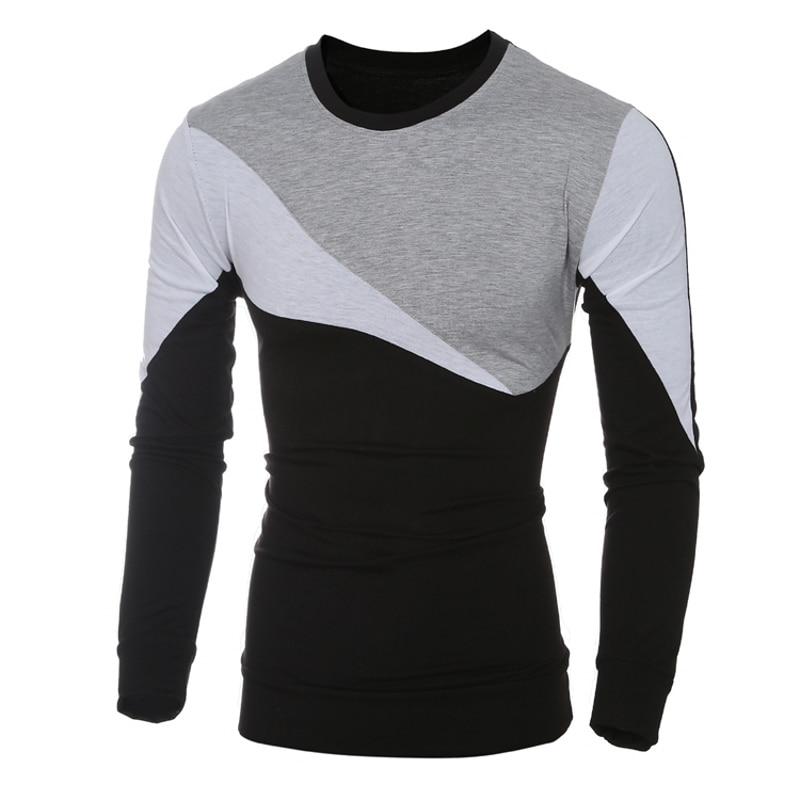 2018 Yeni erkek marka Moda Erkekler T Gömlek Slim Fit O-Boyun - Erkek Giyim - Fotoğraf 2
