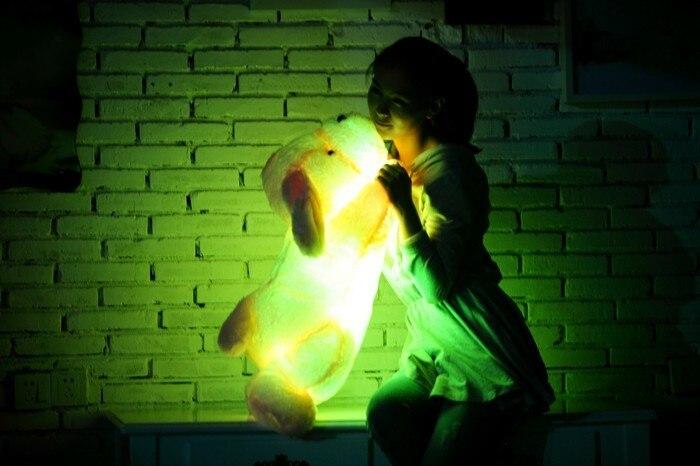 35/50 cm Kawaii Bercahaya Teddy Dog Plush Doll Toys Colorful LED - Boneka dan mainan lunak - Foto 4