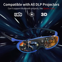 BOBLOV 1 PCS JX-30 3D Active Shutter Glasses DLP-Link USB Rechargeable Home Theater Black For BenQ Dell Acer Optama Sony(China)