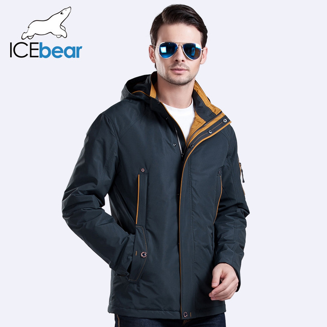 ICEbear 2016 Three Colors Large Size Polyester Thin winter jacket Men parka Spring Casual Warm Coat