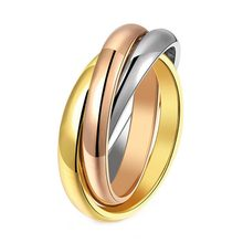 1pc!! Three-ring Tightly Wound Fashion Classic Titanium Steel Rings For Women Anillos Free Shipping(China)