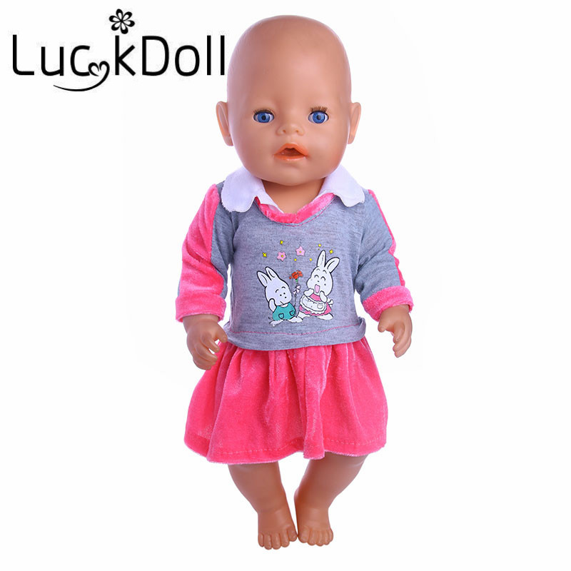 LUCKDOLL Cute Rabbit Print Dress Fit 18 Inch American 43cm Baby Doll Clothes Accessories,Girls Toys,Generation,Birthday Gift