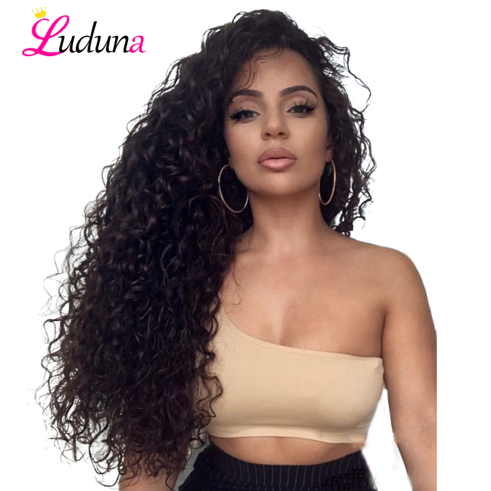 Luduna Lace Front Human Hair Wigs Remy Hair Brazilian Water Wave Wigs For Black Women With