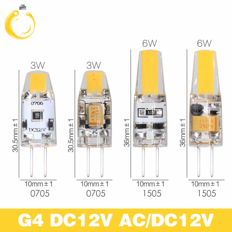 G4 LED Lamp Mini Dimmable 12V DC/AC 3W 6W LED G4 LEDs Bulb Chandelier Light Super Bright G4 COB Silicone Bulbs Ampoule