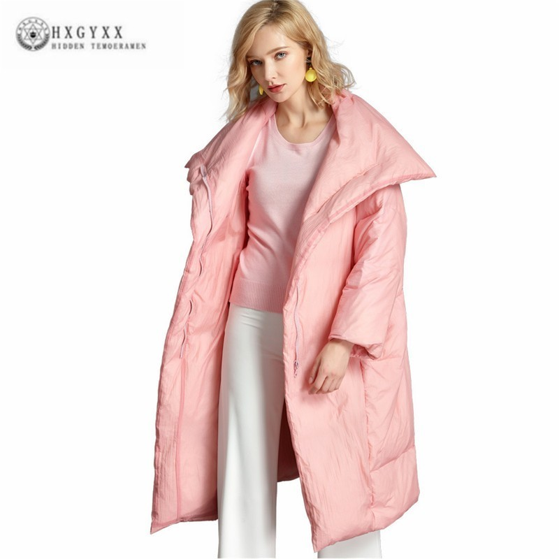 Lady   Down   Jacket European And American Parka Fashion New 2019 Winter   Coat   Womens Tops Loose Plus Size 6XL Long Overcoat J089