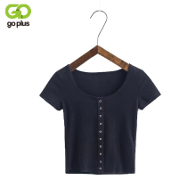 GOPLUS 2019 New Sexy Summer Women Buttons T Shirt Knitted Short Sleeve Single Breasted Stretchy O-neck Slim Top C5797