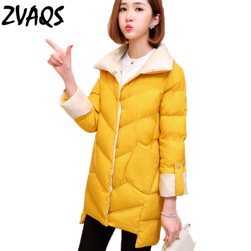 Zvaqs Jacket Womens Winter Coats 2018 New Female Long Cotton-padded Casual Parkas Turn Down Collar Women Jacket Chaqueta Jf254 Women's Clothing