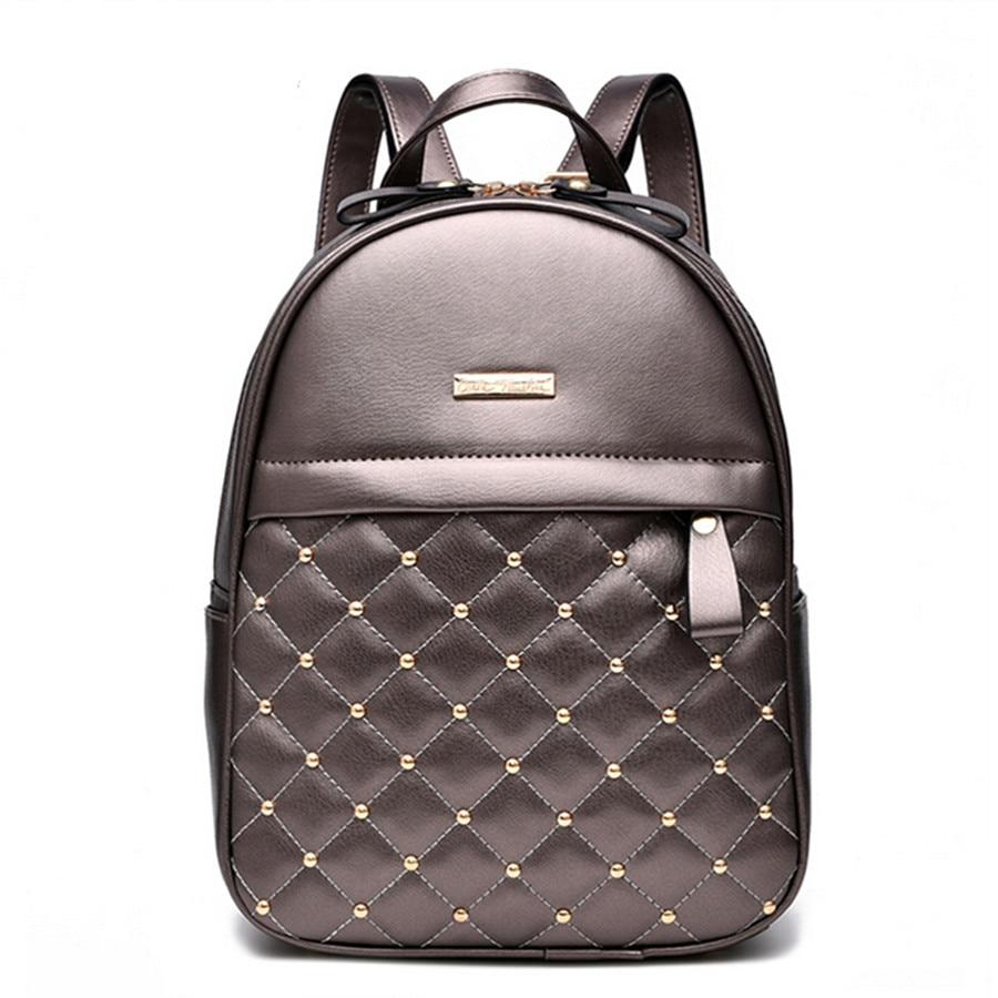 Women Backpacks Fashion Causal Bags High Quality Rivet Bead Female Shoulder Bag PU Leather Backpacks For Girls Women Bag