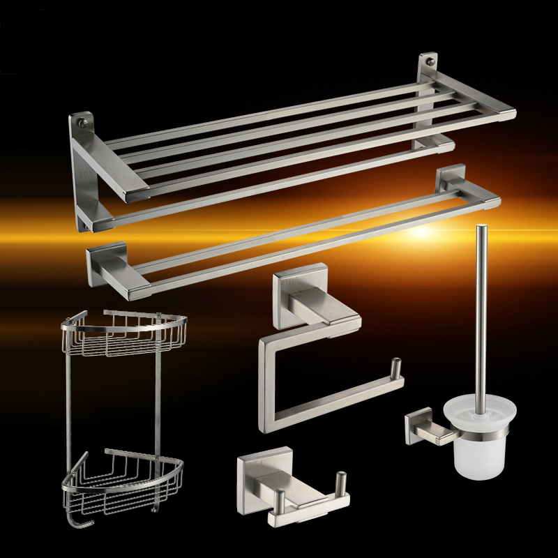modern 304 stainless steel brushed nickel bathroom hardware sets silver chrome bathroom products. Black Bedroom Furniture Sets. Home Design Ideas