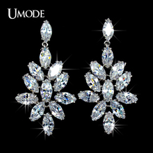 UMODE Brand Rhodium plated Fashion Marquise Cut AAA CZ  Drop Earrings Jewelry For Women Wedding Party Bijoux AUE0027
