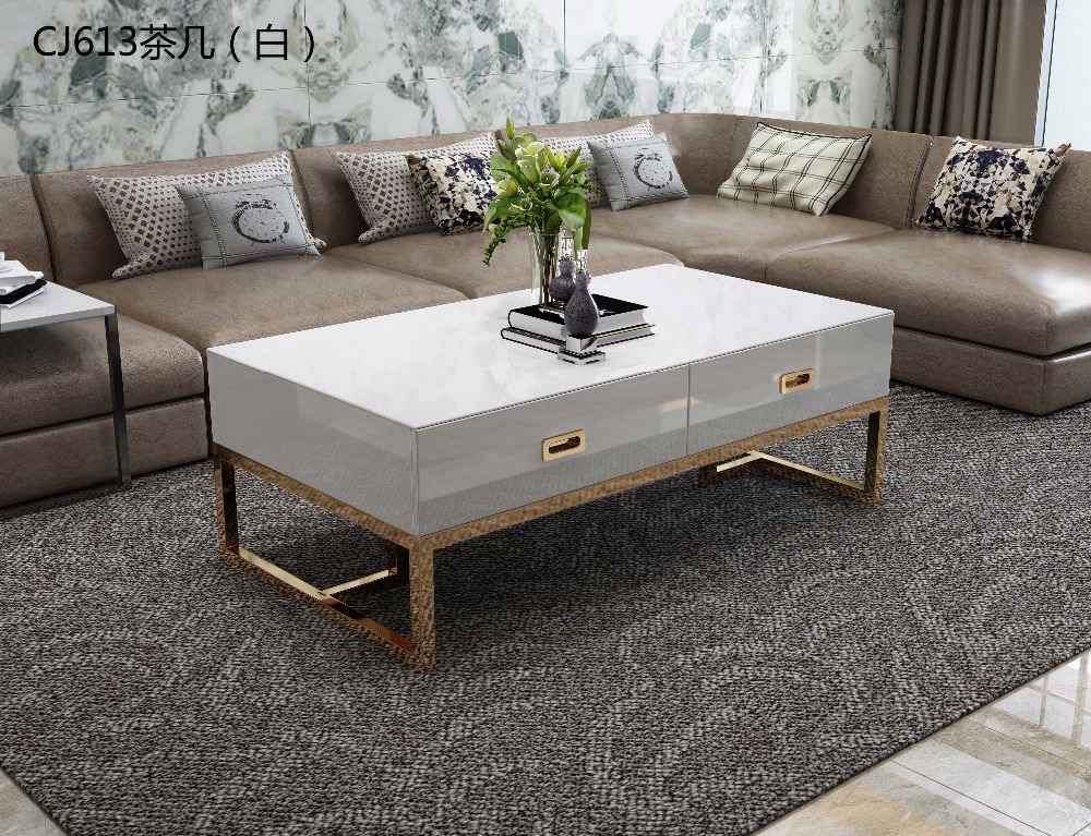 XM613 Tempered glass surface 304 stainless steel gold-plated chassis coffee tea table TV stand cabinet living room furniture set