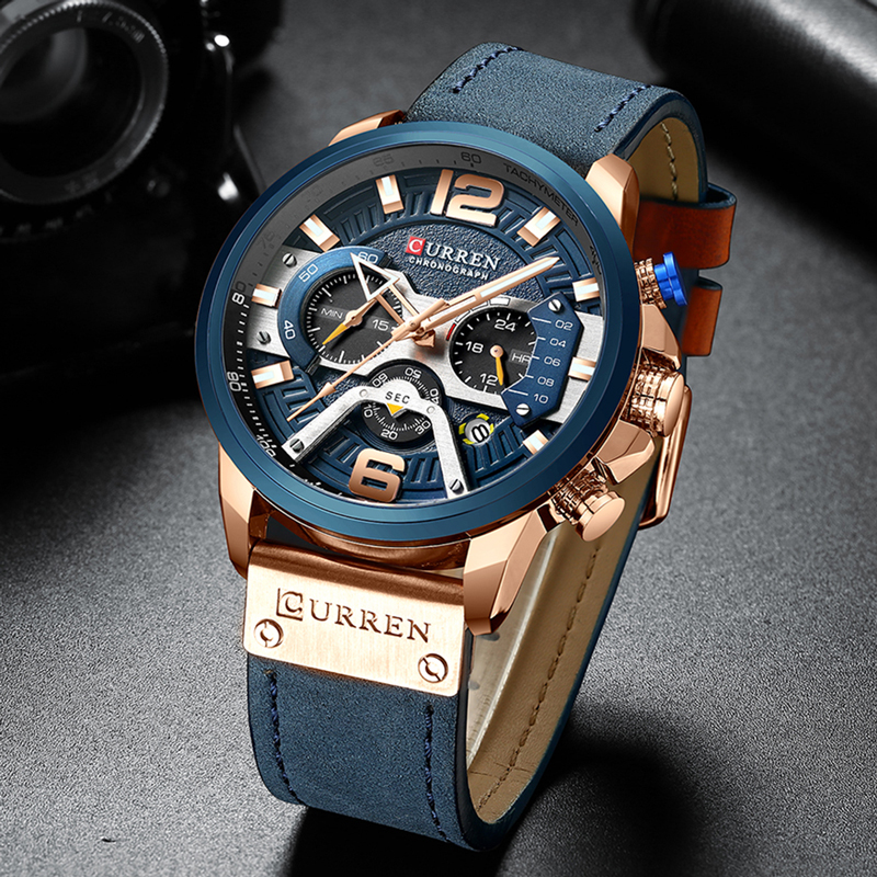 Image 2 - CURREN Casual Sport Watches for Men Blue Top Brand Luxury Military Leather Chronograph Wrist Watch Man Clock Fashion 8329-in Quartz Watches from Watches