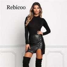 High Quality Women Sexy Leather Skirt New Fashion Bandage Lace Up Womens Waist Pencil Short Mini