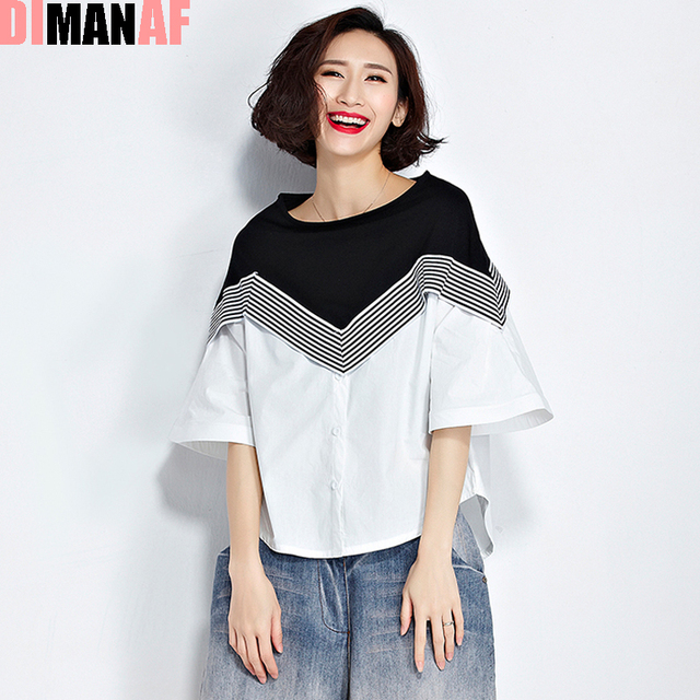 836b10ad2c2 Summer Women T-Shirt Plus Size Striped Print Cotton Flare Sleeve Tumblr Tops  Female Fashion Loose Patchwork Casual Black T-Shirt