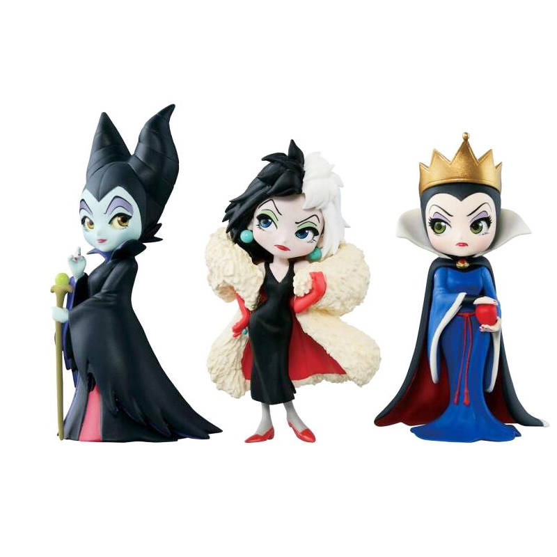 New 3pcs/set Q Posket Petit Villains Descendants 2 Maleficent Cruella De Vil Queen Action Figure Model Gift Toys For Children