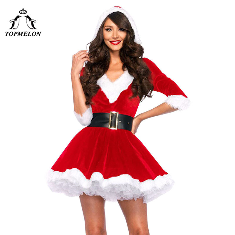 TOPMELON Red Dress Costume for Christmas Sexy Short V Neck One Piece Santa Claus Costume With Hat & Belt Furry Warm Clothing