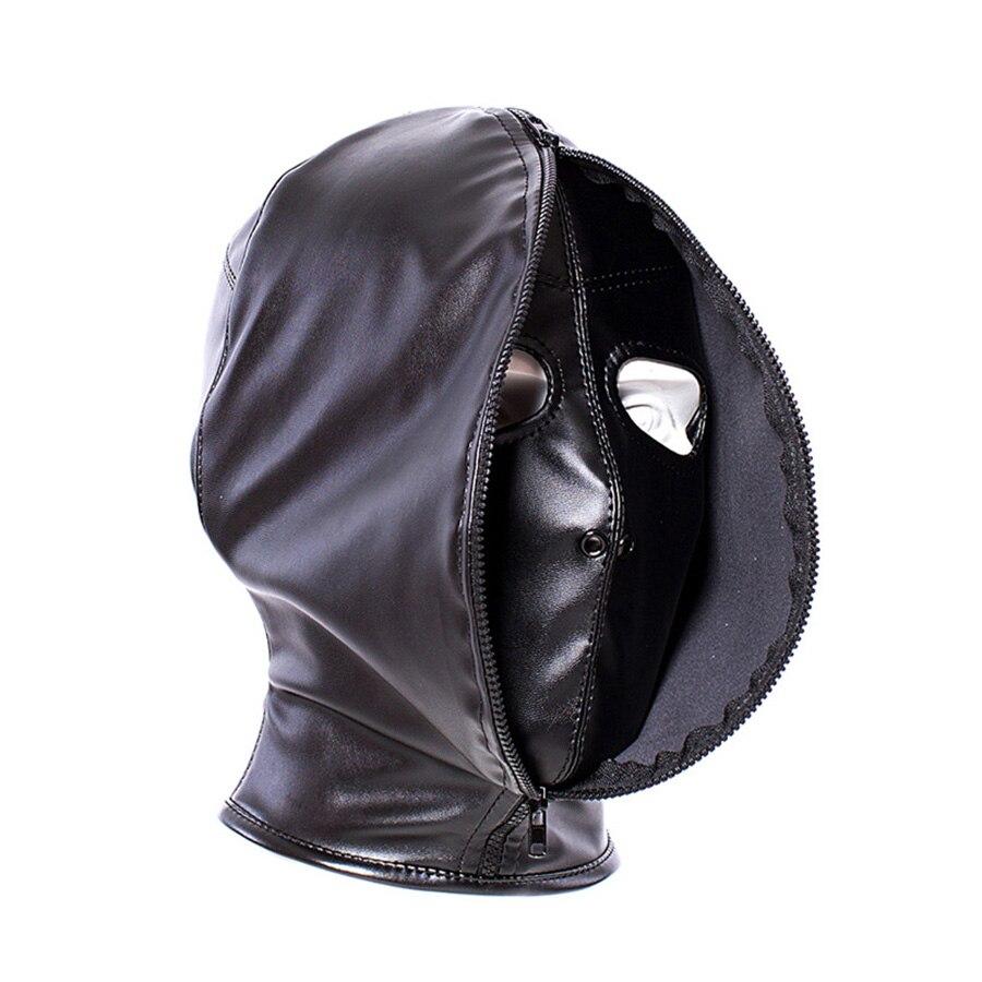 Fetish Bondage Gimp,Leather Zipper Full Head Hood, Double Layer Face Mask,Cosplay Halloween Costume