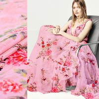 135cm Width 5momme Pink New Flower Pattern Printing 100 Mulberry Silk Crinkle Fabric For Dress Free
