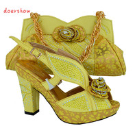 Newest Arrival African Fashion Shoes And Matching Bags Set Plenty Stones And Green Color Italy Shoes