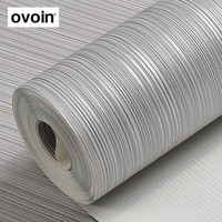 Plain Solid Color Wall Paper Roll Silver Grey Striped Wallpaper Beige Brown Vertical Stripes Wall Coverings