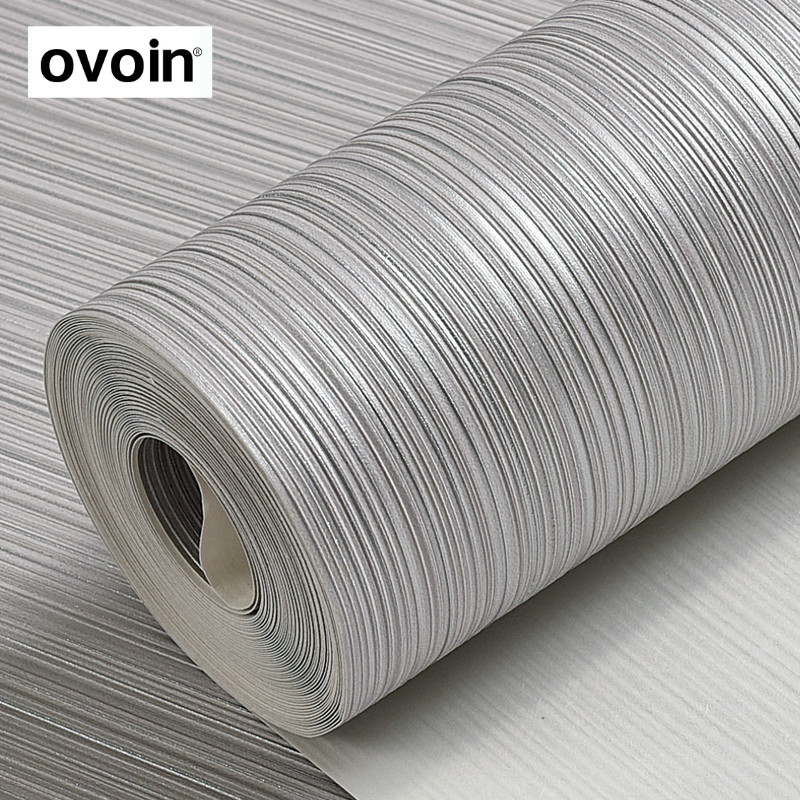 Plain Solid Color Wall Paper Roll Silver Grey Striped Wallpaper Beige Brown Vertical Stripes Wall Coverings Home Decor