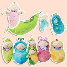 Kawaii popular soft  plush sleeping baby toys toy baby doll bedding toys 0-12 months lovely sleeping baby in the green pea