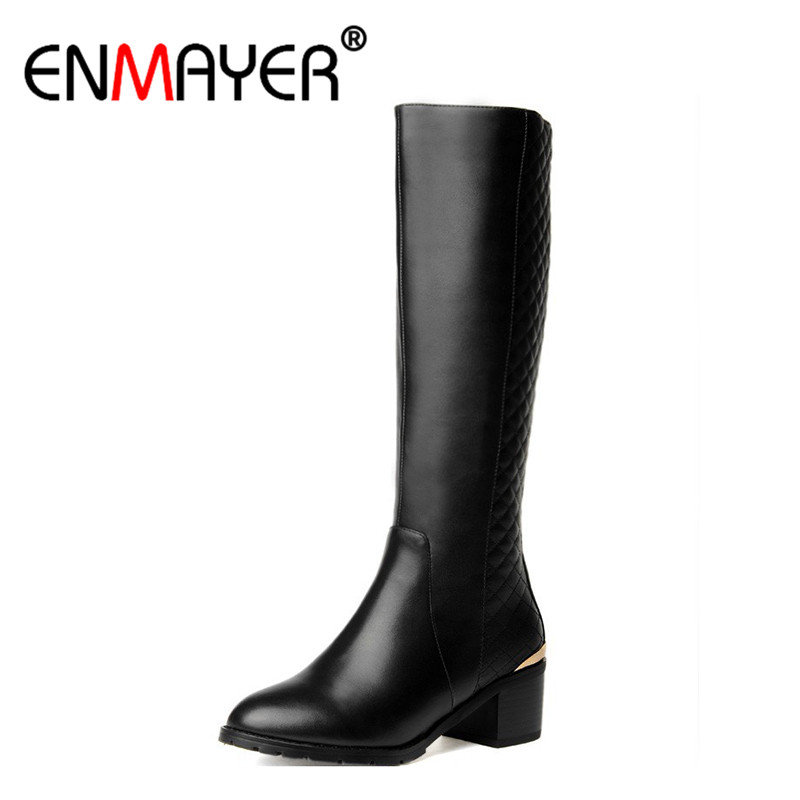 ENMAYER Hot Fashion Winter Womens Boots Genuine Leather High Boots NEW Flats Heels Shoes Women Boots Big Size 34-43 Knight Boots