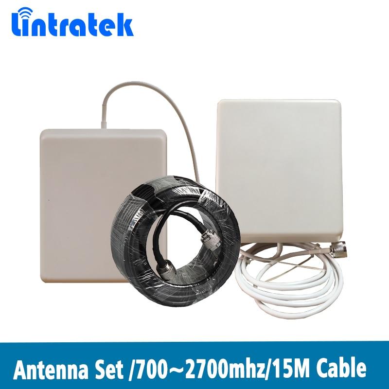 2700 700 MHz Antena de Panel exterior/interior M + 15 M Cables para 2G 3G 4G CDMA GSM DCS PCS WCDMA LTE 2600 MHz amplificador de señal de teléfono móvil