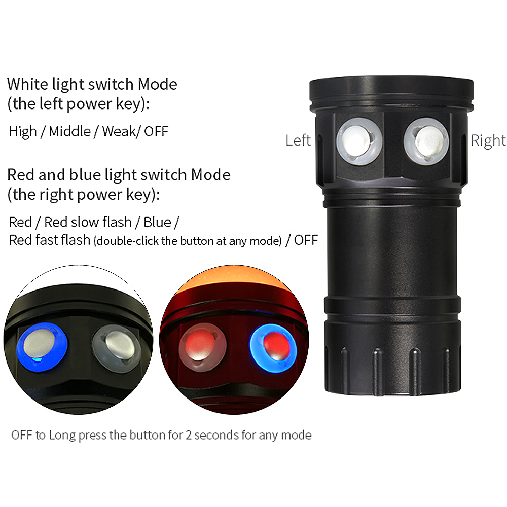 QH14 300W LED Diving Flashlight 28800 Lumens Six 9090 XML2 + Four XPE R5 + Four XPE R5 Scuba 7 Modes Underwater Canister Lamp