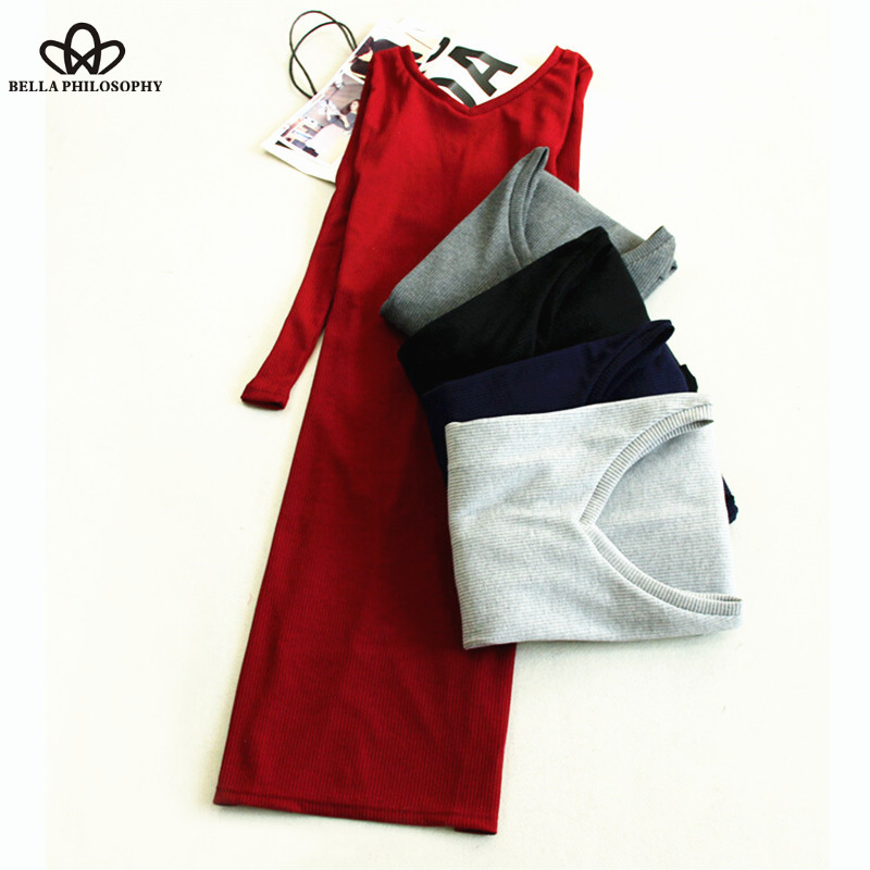 Bella Philosophy Fall Winter Women Stretchy Knitted Sweater Red Navy Blue Gray V Neck Long Sleeve Skinny Pencil Dress