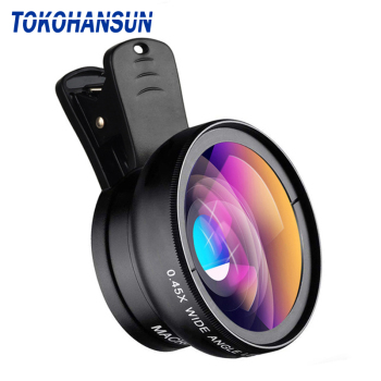 TOKOHANSUN HD 37MM 0.45x Super Wide Angle Lens with 12.5x Super Macro Lens for iPhone 6 Plus 5S Samsung S8 Camera lens Kit