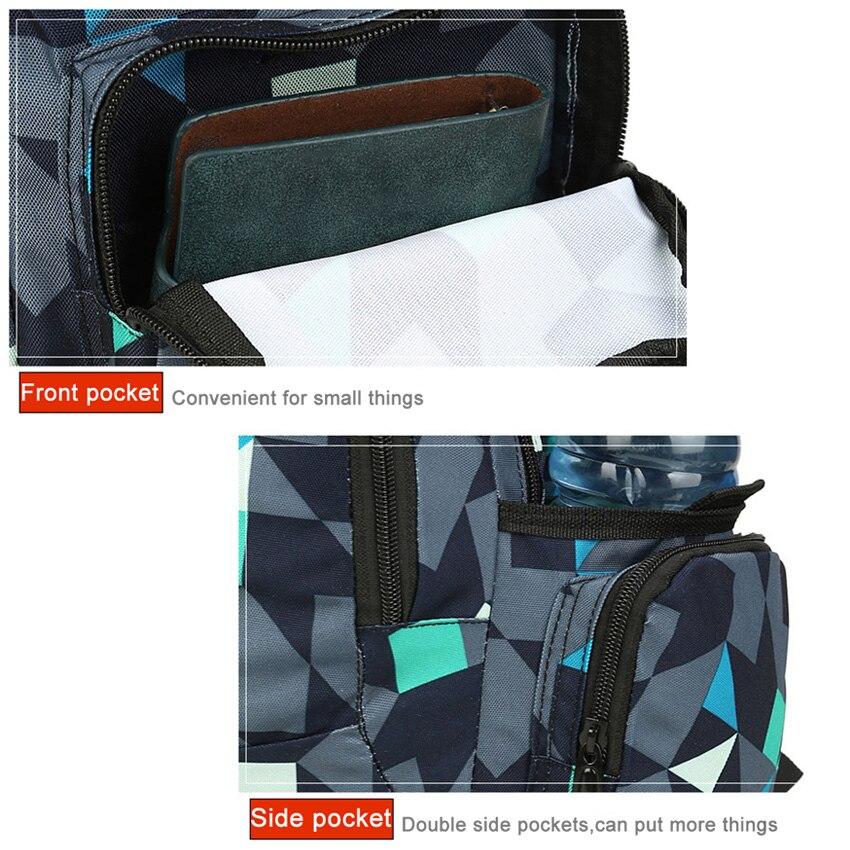 Nylon Backpack Student College Waterproof Men Backpack Women Quality Brand Laptop Bag Geometric Pattern Material School Backpack in Backpacks from Luggage Bags