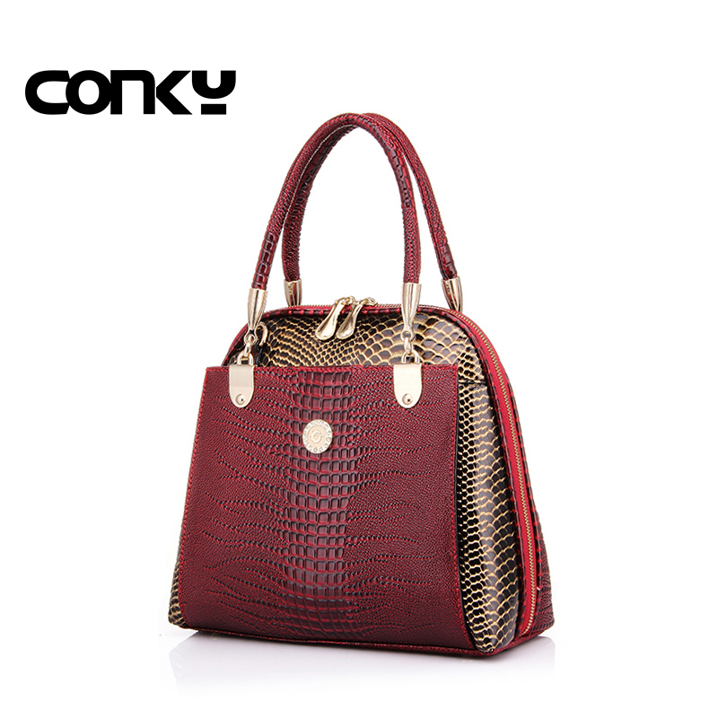 New fashion women's shell bag high quality designer embossed handbag crocodile pattern pu leather tote bag ladies handbags long sleeve lace pencil sheath dress