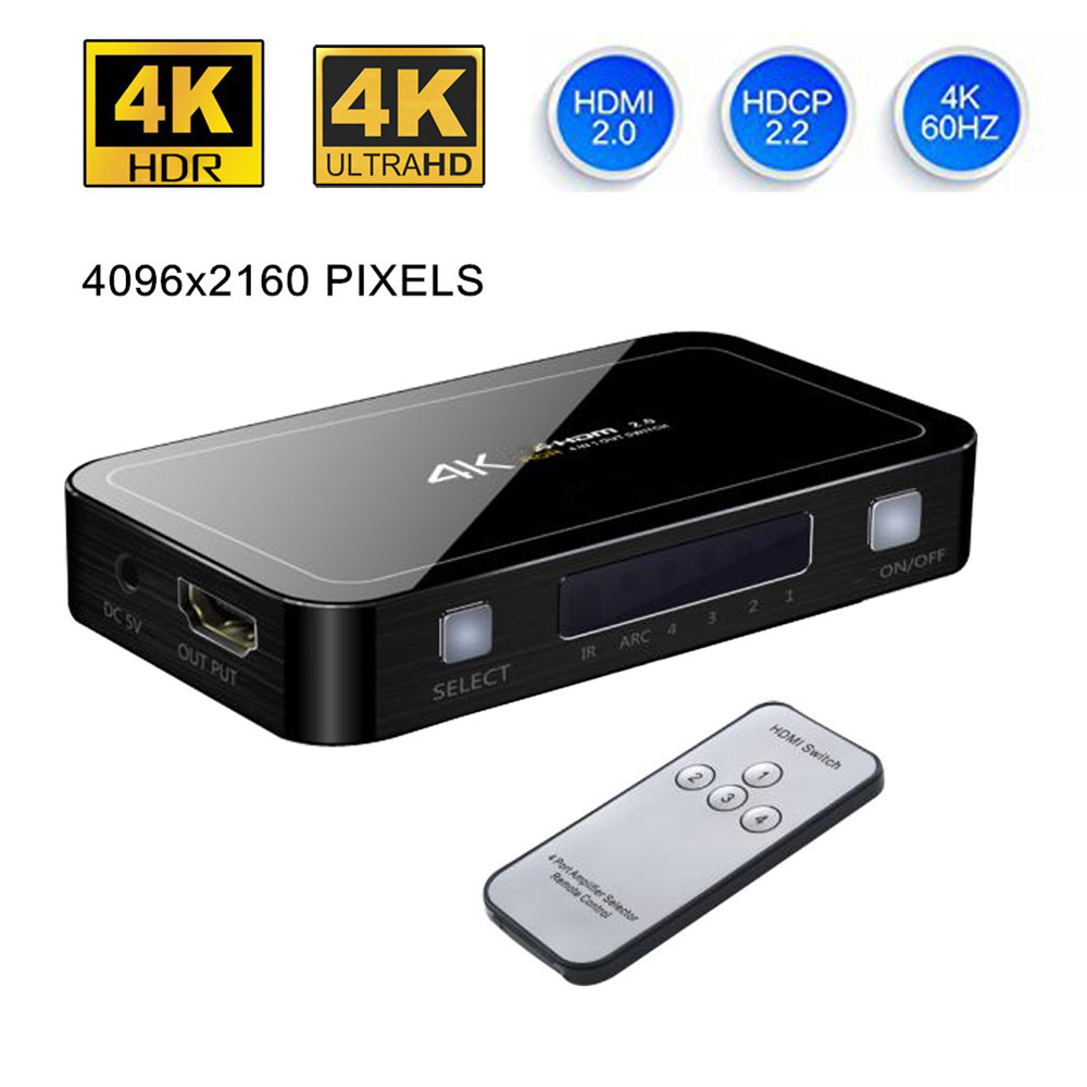 цена Mini 4 Port 4x1 HDMI Switch Ultra HD 4K@60Hz HDMI 2.0 HDCP 2.2 4 In 1 Out Switcher Box With IR Control For PS4 Apple TV HDTV