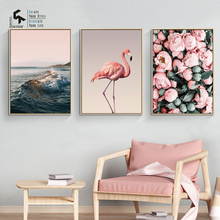 CREATE&RECREATE Nordic Poster Ocean Canvas Art Flamingo Posters And Prints Flower Wall Painting Decoration Pictures CR1810115026