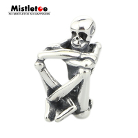 Genuine 925 Sterling Silver Skeleton Spirit Charm Bead Fits European Brand Troll 3 0mm Bracelet Jewelry