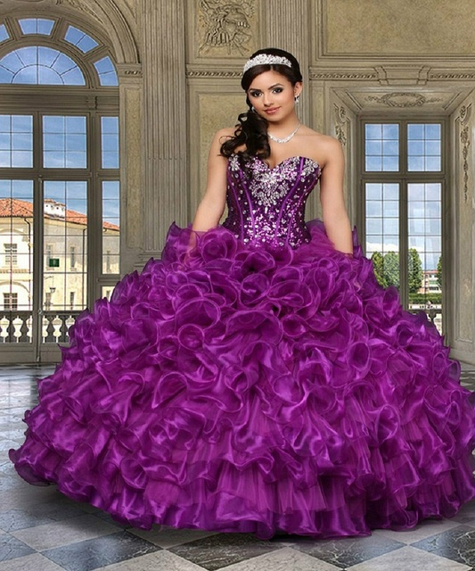 15e3324738c7 New and unique women dress 2015 purple organza 15 years birthday party dress  hemming shiny beaded pageant Ball Gown dresses