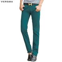 VERSMA Pure Color Khaki Pants Trousers Men Business Casual Men Pants Skinny Grey Sweatpants For Men