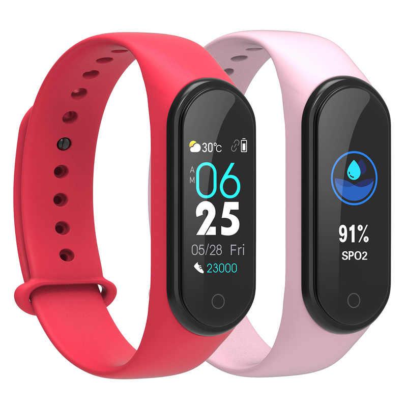 2019 新加入 M4 スマートカラー画面心拍フィットネス Bluetooth5.0 生活防水スマートブレスレット