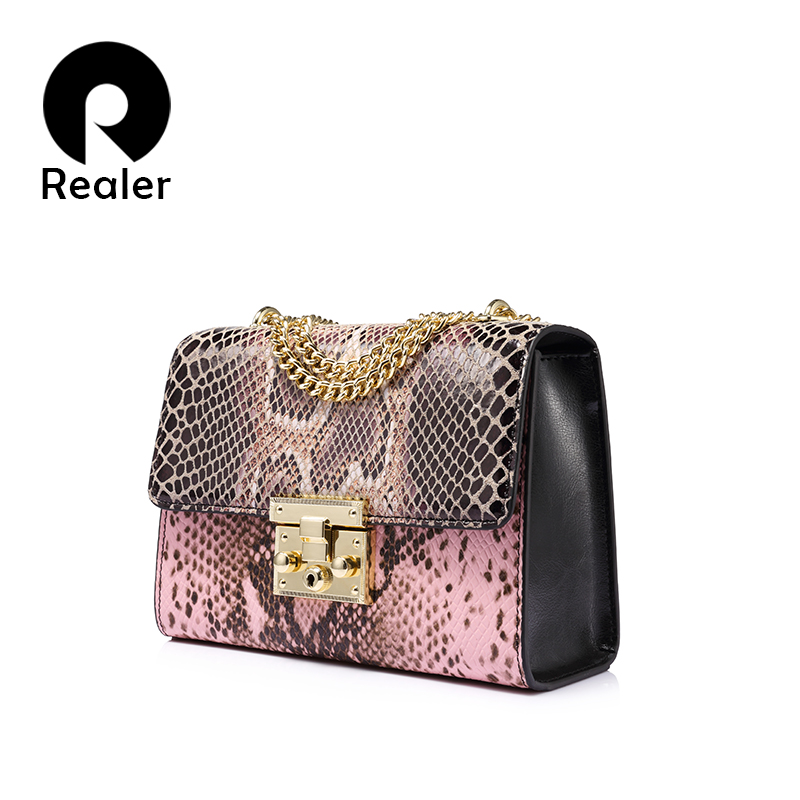 REALER  hard flap genuine leather shoulder bag female small chain crossbody bags serpentine print luxury handbags women bags twenty four genuine leather female shoulder bags fashion style chain bags with rivets for young girl small lovely handy flap bag