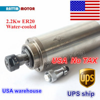 USA free TAX 2.2KW Water Cooled Spindle Motor ER20 Collet 80x213mm 220V/110V 4 Bearings for CNC Wood Engraving milling machine