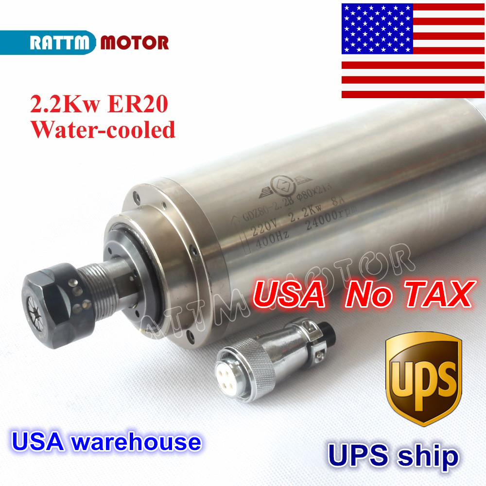 USA free TAX 2.2KW Water Cooled  Spindle Motor ER20 Collet 80x213mm 220V/110V 4 Bearings for CNC Wood Engraving milling machine2.2kw watermilling machine motormilling motor -