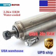 Usa Gratis Belasting 2.2KW Watergekoelde Spindel Motor ER20 Collet 80X213 Mm 220 V/110 V 4 Lagers Voor Cnc Hout Graveren Freesmachine
