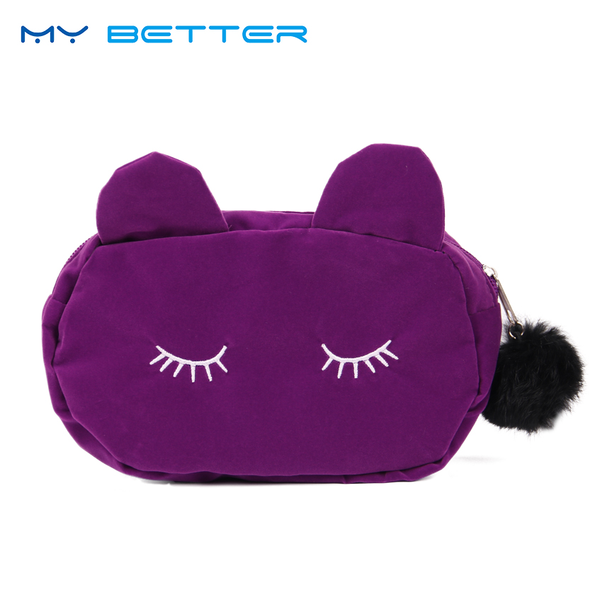 цена на Cute Cat Lady Hairball Zipper Cosmetic Bag Pouch Travel Toiletry Storage Bag Pouch Women Trip Makeup Bag Neceser