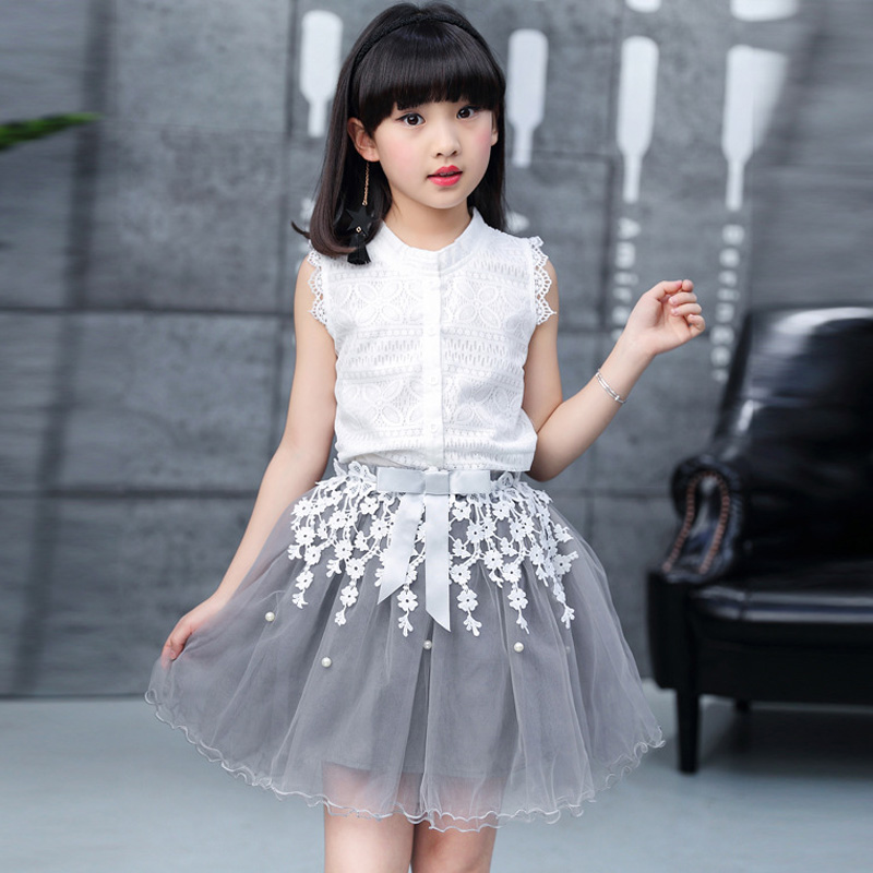 Girls Clothing Set 2017 Summer New Sleeveless Applique White Blouse Tops + Grey Skirt Kids Suits Girls TuTu Skirt Child Clothes inc international concepts new white sleeveless linen blouse 2 $48 99 dbfl